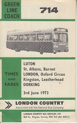 ORIGINAL LONDON COUNTRY GREEN LINE COACH TIMETABLE FOR SERVICE 714 - June 1974