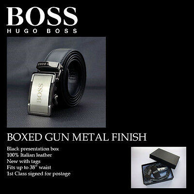 Hugo Boss Smoked gun metal Leather Belt Automatic Buckle fits up to 38""