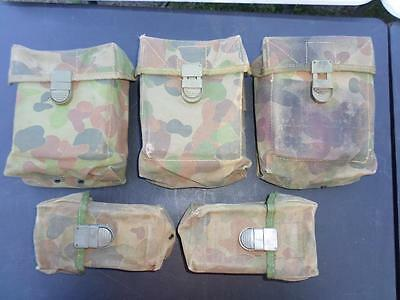 Vintage 90`s Australian Military Auscam Lot Of 5 Pouches Used Preowned