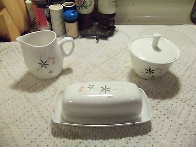 Franciscan Whitestone Ware Pink A Dilly SUGAR & CREAMER and Covered Butter Dish