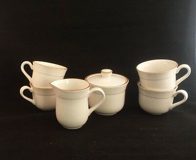 Vintage Nitto Heather Stone Dansant Cream Sugar 4 Coffee Cups BROWN SPECKLED