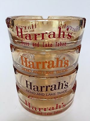 Set of 4 Harrah's Reno Lake Tahoe Glass Ashtrays Vintage Casino Collectibles