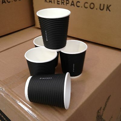 8oz Black Disposable  Ripple Wall Coffee Cup