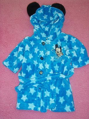 baby boys size 00 disney mickey mouse soft cute hooded dressing gown