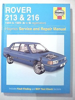Collectable Haynes Service & Repair Manual Rover 213&216 1984 to 1989 A to G Reg