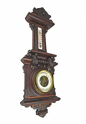 Antique Mahogany Carved Barometer / Thermometer, Dutch.