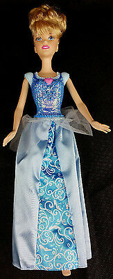"Pre-Owned 2012 Mattel Cinderella Doll Disney 12"" Blue Sparkle Dress"