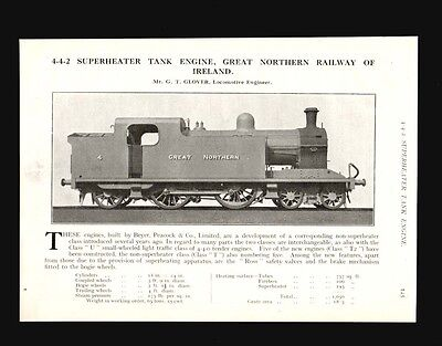 GREAT NORTHERN RAILWAY OF IRELAND  4-4-2 Tank Engine Review & Spec (1922 Review)