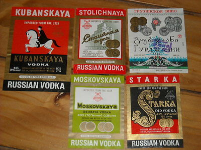Vintage Vodka Bottle Labels Russia FIVE Russian Vodka Bottle Labels