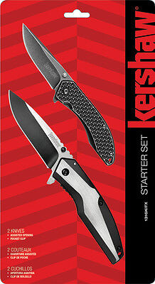 "Kershaw ""starter"" Set Of Two Linerlock Knives, Couteau And Cuchillo, Ks1316Kitx"