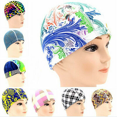Unisex Stretch Flexible Sporty Swimming Long Hair Cap Hat Ear Cup First-rateLWC
