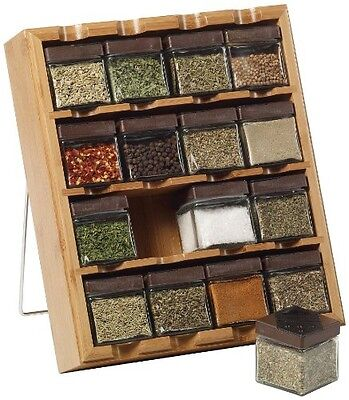 Kamenstein Bamboo Inspirations 16-Cube Spice Rack with Spice Refills
