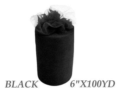 6inch x 100yd Quality Tulle Roll - Black