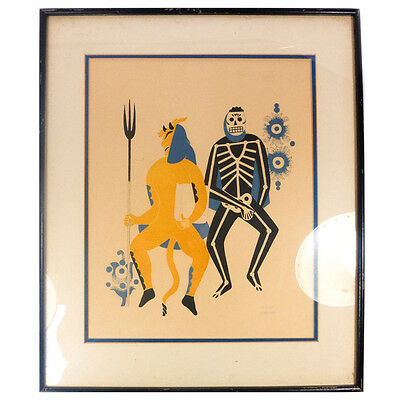 Vintage Framed Mexican Guatemalan Carlos Merida Signed Litho Print Yellow Figure