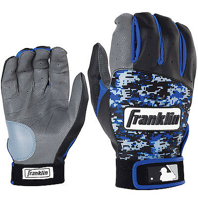 Franklin Digitek Adult Baseball/Softball Batting Gloves - Black/Royal - Large