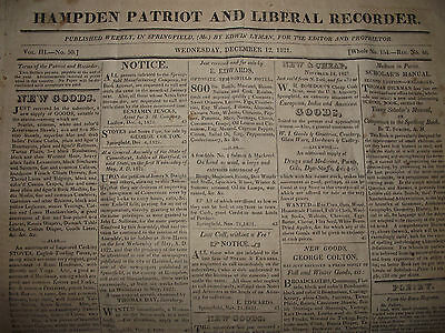 1821 James Monroe State Of The Union Address ~Springfield Mass.~Hampden Patriot