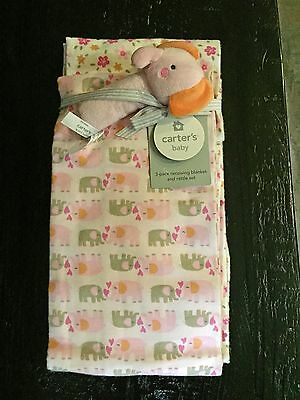 NWT 3 pack Carter Carter's Baby Blanket w Rattle Pink Elephant Flowers Gift