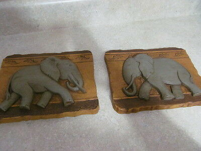 Home Interior / Homco Pair Of Elephant Plaques # 5071  Syroco / Resin
