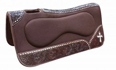 "Showman 31"" x 32"" x 1"" Brown Felt Built Up Saddle Pad W/ Tooled Wear Leathers!"