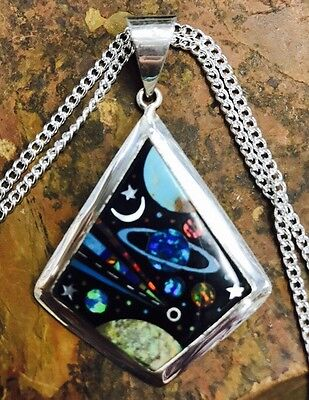 Native American MICRO INLAY Silver Pendant ,Zuni inlay  multiple stones 2