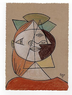 """Pablo Picasso - Color Sketch """"CUBIST HEAD OF A WOMAN"""" Registered"""