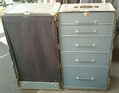 Vintage Hartmann Steamer Trunk Luggage Storage Chest Navy Leather