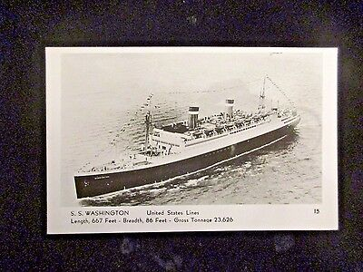 Original Ss Washington Real Photo Postcard United States Lines By A. Mainzer