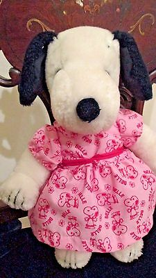 "Snoopy's Sister Belle With Pink Dress Vintage  9 1/2"" Tall Plush Stuffed Animal"