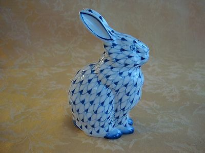 Andrea by Sadek Blue  White Porcelain Fishnet Bunny Rabbit HandPainted Thailand