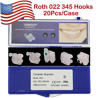 US 1Box Dental Orthodontic Ceramic Brackets Braces Roth 022 345 Hooks ORMAER