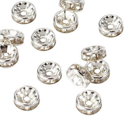 1000pcs Silver Plated Iron Rhinestone Metal Beads Rondelle Loose Spacers 6x3mm