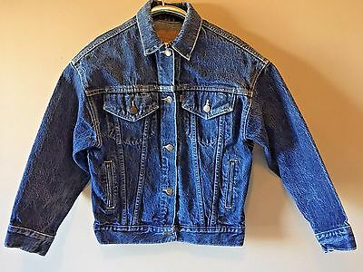 Vintage Levis Blue Denim Boys Kids Youth Trucker Jacket made USA size M 476 CJ12