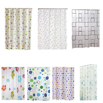 Floral Pattern Bouquet Image Waterproof Shower Curtain Shell Bathroom Bath Decor