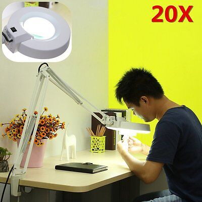 20X Desk Magnifying/Magnifier Lamp Light Beauty Salon Spa Clamp Cool White 22W