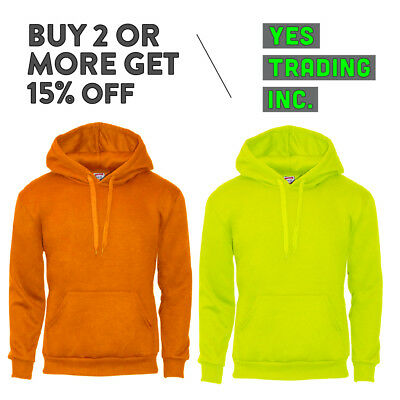 Hi Mens High Visibility Pullover Hoodie Safety Color Hooded Sweatshirt Neon Ansi