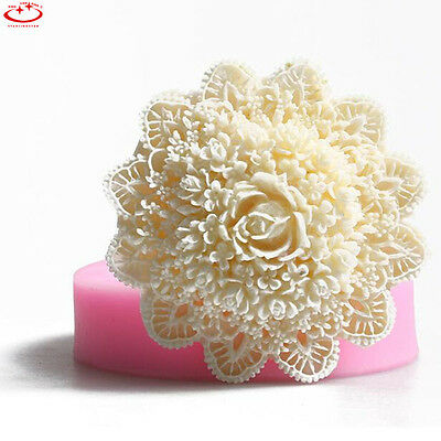 3D Lace Flower Silicone Fondant Mold Cake Decorating Sugarcraft Baking Mould NEW