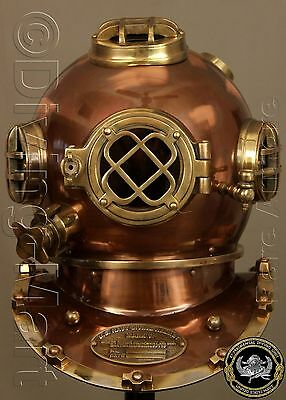 "Antique U.s Navy Mark V Solid Steel & Brass Diving Divers Helmet Full 18"" Gift"