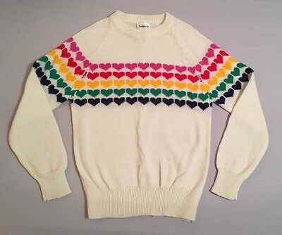 Rainbow Hearts Vintage Sweater Cream Multi Color Hudson's Size Small Women's