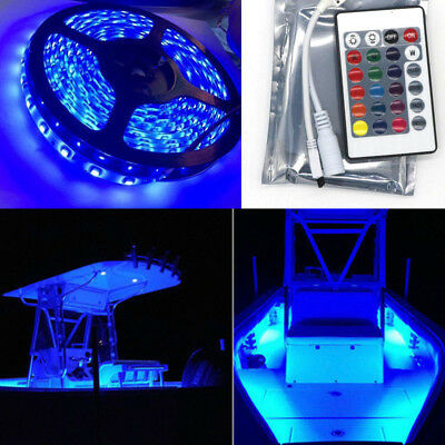 Boat Accent Light Waterproof LED Lighting Strip 16 ft  RGB + 24KEY IR Remote