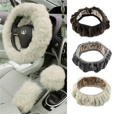 Fashion Plush Warm Fur Steering Wheel Cover Woolen Handbrake Car Accessory ..