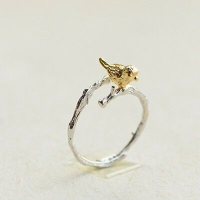 Fashion 925 Silver Plated Ring  Lovely Cute Bird Rings Open Adjustable 2PCS
