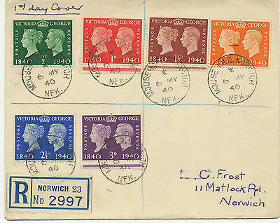 2414 1940 Postage Stamp Centenary, 7 different very fine/superb plain/ill. FDC's