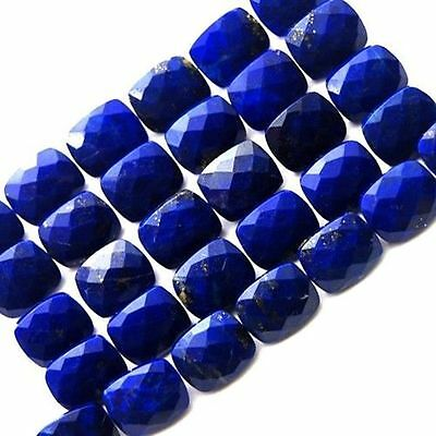 Lot of 10 Pic. Lapis Lazuli 9X9 M.M. Cushion Normal Cut Faceted Loose Gemstones