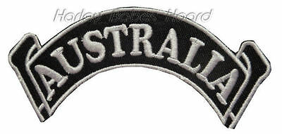 Embroidered Iron Or Sew On Cloth Biker Patch ~ Australia Rocker Scroll - Small ~