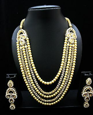 Indian Bollywood Necklace Set Gold Plated Pearl CZ Ethnic Designer Jewelry