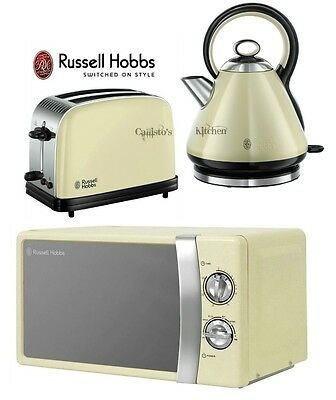 Russell Hobbs Microwave Kettle and Toaster Set Pyramid Kettle & Cream Toaster