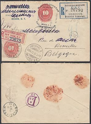 Mexico 1892 - Registered stationery to Brussels Belgium
