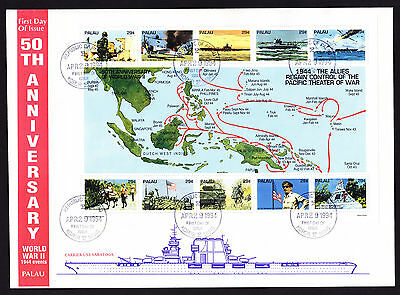 Palau 1994 World War II WW2 1944 events commemorative cover WWII Pacific Sheet