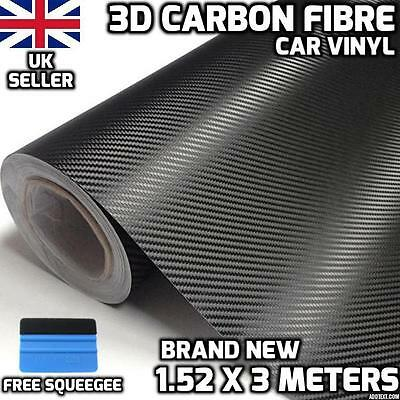 3D Carbon Fibre Vinyl Wrap Car 1.52M x 3M, Air/ bubble Free, Roll, Sticker,UK