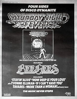 SATURDAY NIGHT FEVER (BEE GEES etc), POSTER-SIZE AD 1978 /ADVERT
